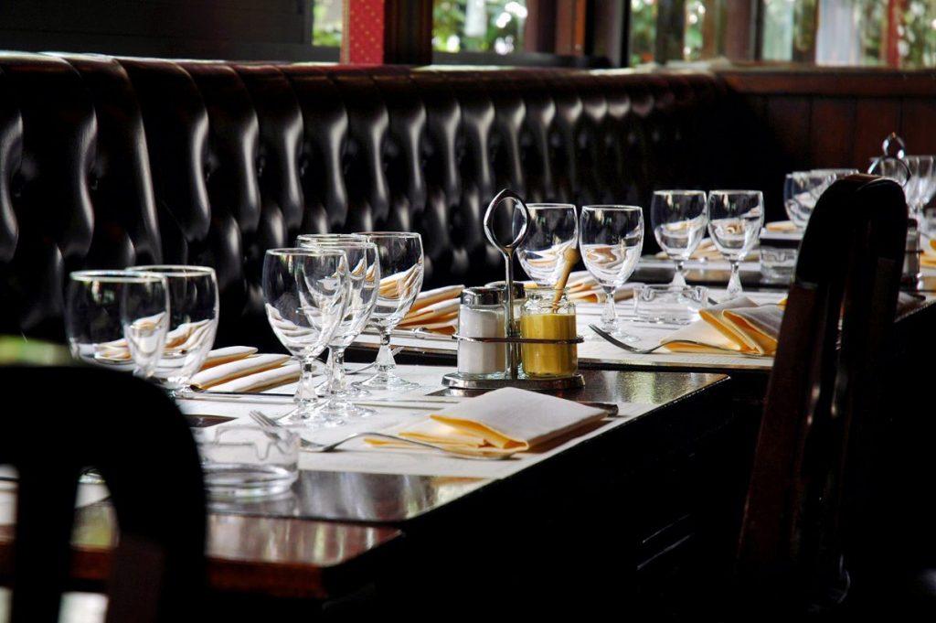 "Table in the restaurant ""La Closerie des Lilas"" in Paris."