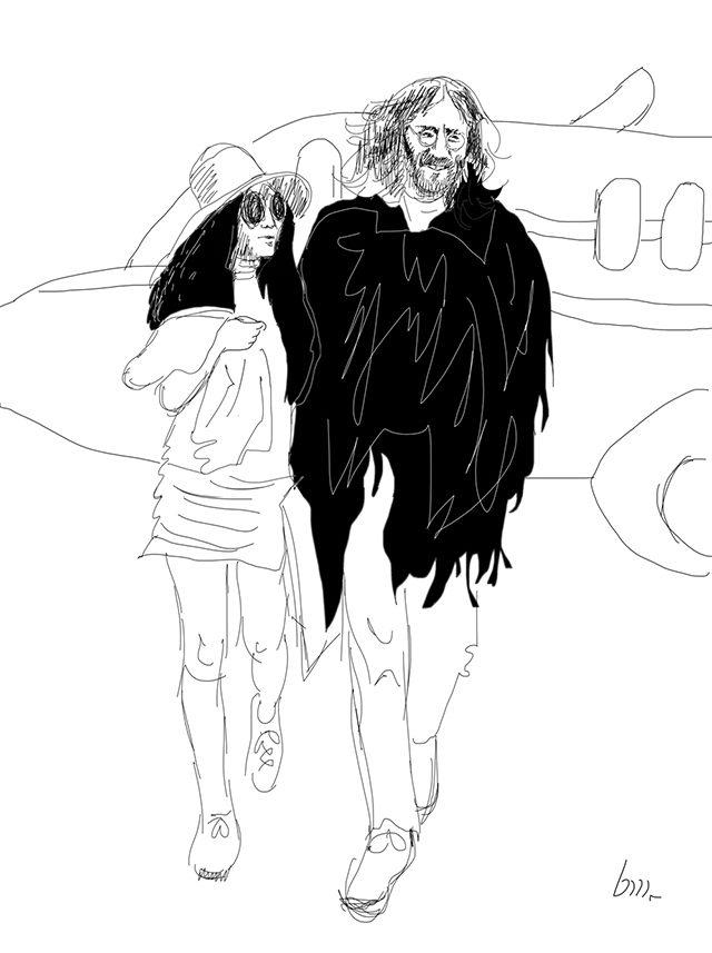 JOHN LENNON; YOKO ONO; LANDING IN PARIS;