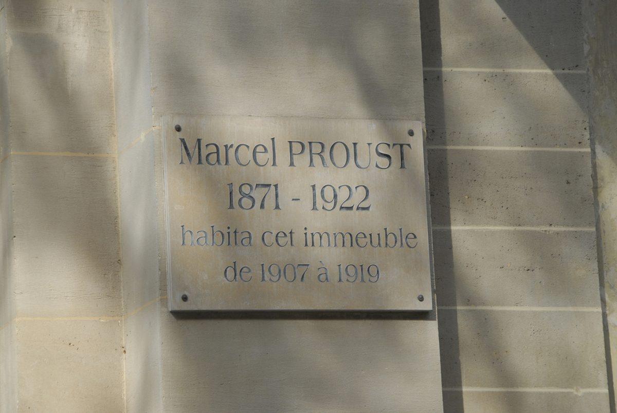 MARCEL;PROUST;PLAQUE;COMMEMORATIVE PLAQUE;PARIS;BOULEVARD HAUSSMANN;