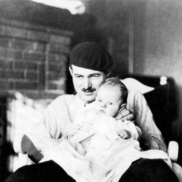 Hemingway with his son in Paris