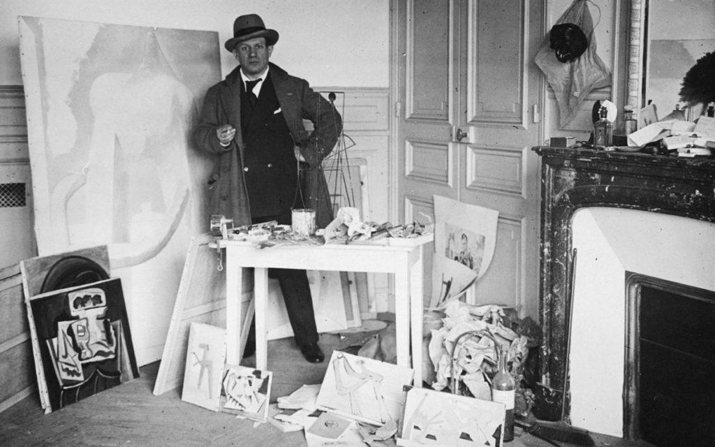 Picasso in his studio in Paris