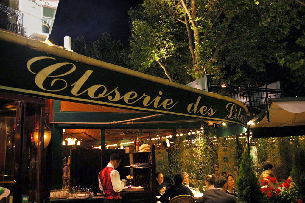 "The restaurant ""La Closerie des Lilas"" in Paris. Terrace by night."